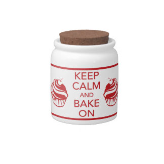 Keep Calm and Bake On Candy Jar