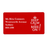 Keep Calm and Bake On (cooking) (customize color) Shipping Labels