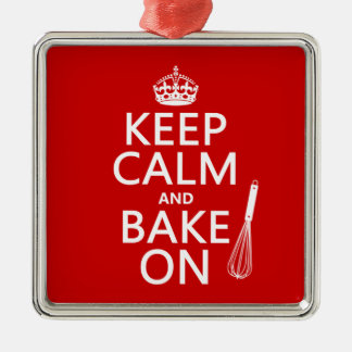 Keep Calm and Bake On (cooking) (customize color) Square Metal Christmas Ornament
