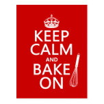Keep Calm and Bake On (cooking) (customize color) Postcard