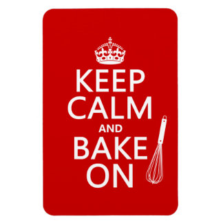 Keep Calm and Bake On (cooking) (customize color) Rectangular Photo Magnet