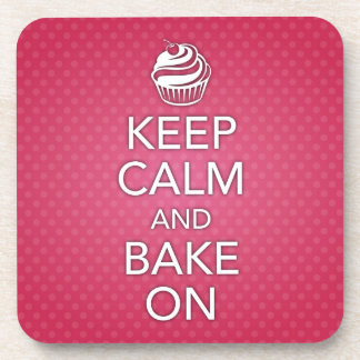 Keep Calm and Bake On Cork Coaster