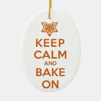 Keep Calm and Bake On Double-Sided Oval Ceramic Christmas Ornament