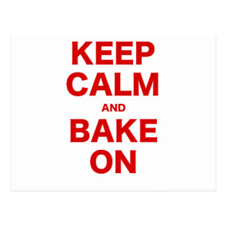 Keep Calm and Bake On Postcard