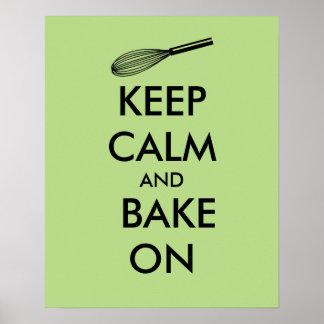 Keep Calm and Bake On Poster Custom Color