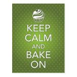 Keep Calm and Bake On Recipe Card Green Postcard