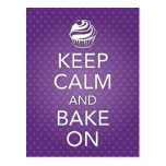 Keep Calm and Bake On Recipe Card Purple Post Cards