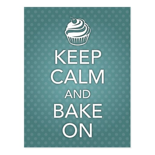 Keep Calm and Bake On Recipe Card Teal
