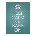 Keep Calm and Bake On Recipe Card Teal Postcard