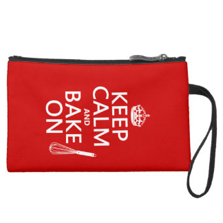 Keep Calm and Bake On Suede Wristlet Wallet