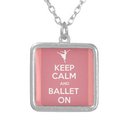 Keep calm and ballet on square pendant necklace