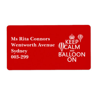 Keep Calm and Balloon On (hot air ballooning) Label