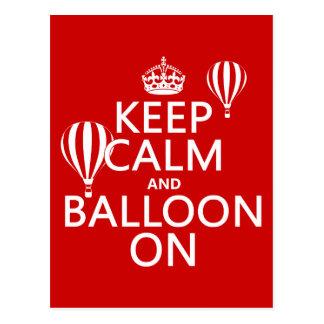 Keep Calm and Balloon On (hot air ballooning) Postcard