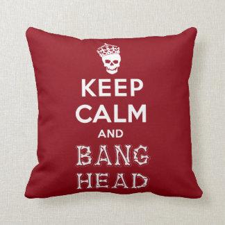Keep Calm and Bang Head!! (white ver.) Throw Pillow