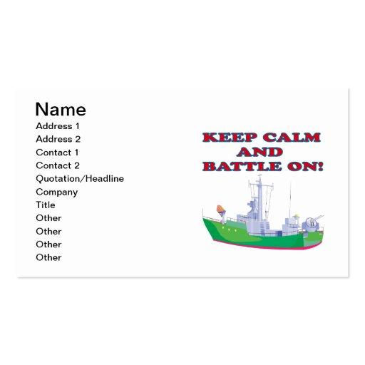 Keep Calm And Battle On Business Card Template