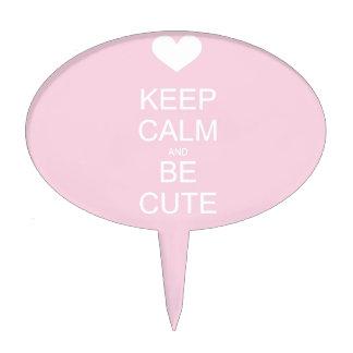 keep calm and be cute cake picks