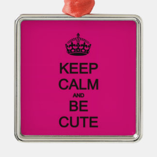 keep calm and be cute neon pink ornament