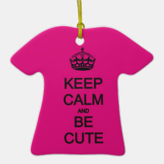 keep calm and be cute neon pink ornaments