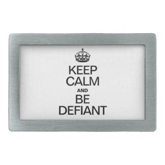 KEEP CALM AND BE DEFIANT RECTANGULAR BELT BUCKLES