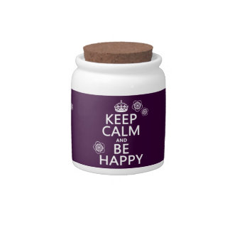 Keep Calm and Be Happy (available in all colors) Candy Jar