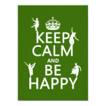 Keep Calm and Be Happy (dance) (customizable) Personalized Invitations