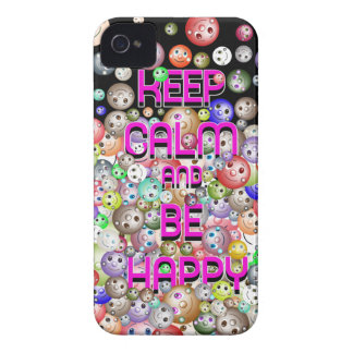 Keep Calm And Be Happy Smileys Blackberry Bold Cas iPhone 4 Case