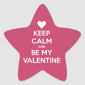 Keep Calm and Be My Valentine Berry Star Sticker
