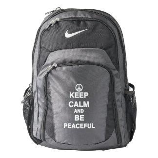 Keep Calm and Be Peaceful Nike Backpack