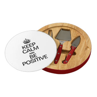 KEEP CALM AND BE POSITIVE ROUND CHEESEBOARD