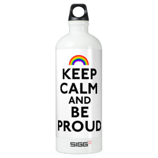 Keep Calm and Be Proud Aluminum Water Bottle