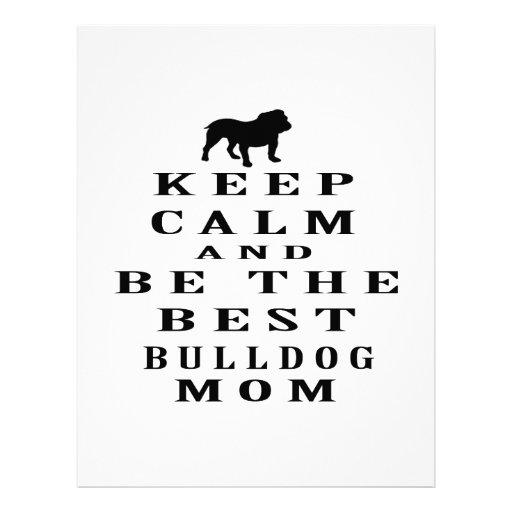 Keep calm and be the best Bulldog mom Letterhead Template