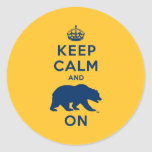 Keep Calm and Bear On - Blue Classic Round Sticker
