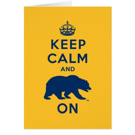 Keep Calm and Bear On - Blue Greeting Cards