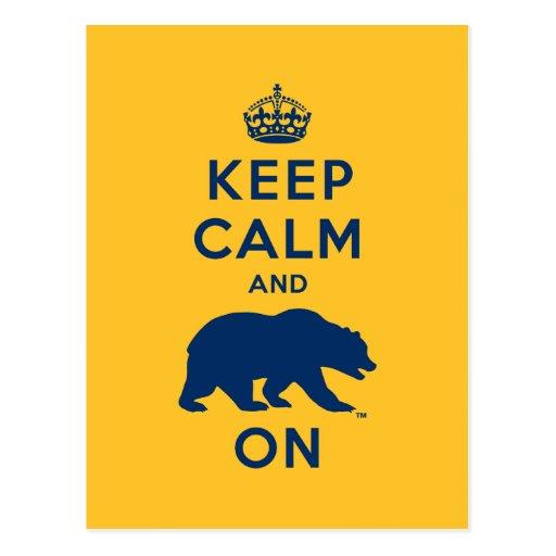 Keep Calm and Bear On - Blue Postcard