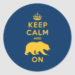 Keep Calm and Bear On - Gold Classic Round Sticker