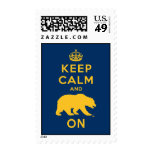 Keep Calm and Bear On - Gold Postage Stamp