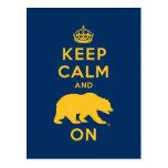 Keep Calm and Bear On - Gold Postcard