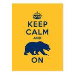 Keep Calm and Bear On Postcard