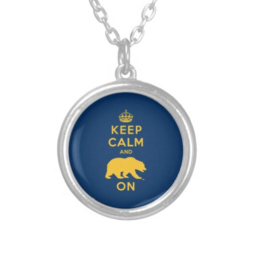 Keep Calm and Bear On Round Pendant Necklace