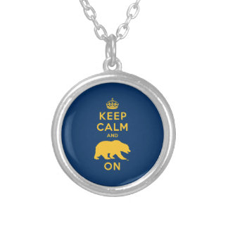 Keep Calm and Bear On Silver Plated Necklace