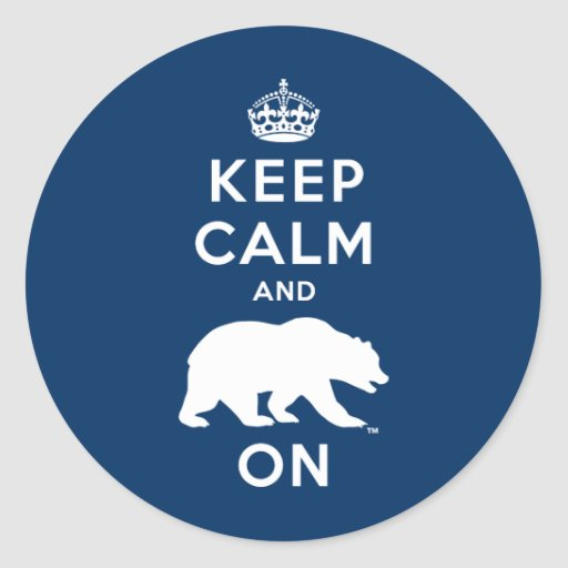 Keep Calm and Bear On - White Classic Round Sticker