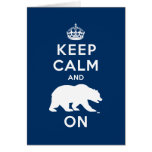Keep Calm and Bear On - White Greeting Card