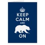 Keep Calm and Bear On - White Greeting Card