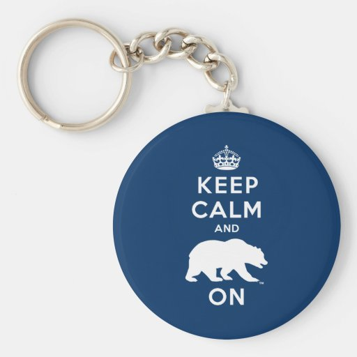 Keep Calm and Bear On - White Key Chain