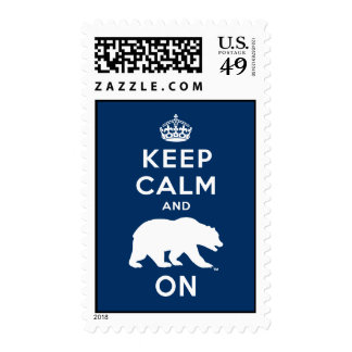 Keep Calm and Bear On - White Postage Stamps