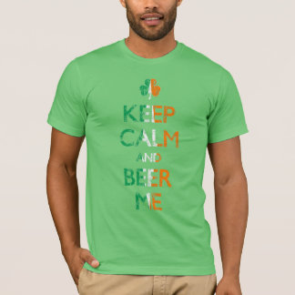 Keep Calm and Beer Me Irish Flag Shamrock Shirt