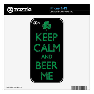 Keep Calm And Beer Me Irish Themed iPhone Skin Skins For iPhone 4S