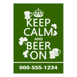 Keep Calm and Beer On (irish) (any color) Large Business Cards (Pack Of 100)