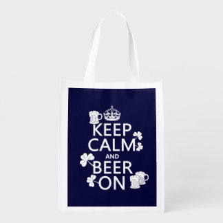Keep Calm and Beer On (irish) (any color) Grocery Bag