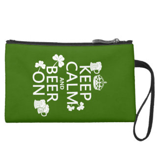 Keep Calm and Beer On (irish) (any color) Suede Wristlet Wallet